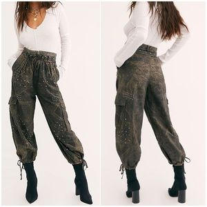 FREE PEOPLE Fly Away Parachute Pants Studded Cargo